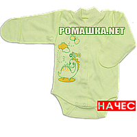 Детский боди с длинным закрытым рукавом р. 62 с начесом ткань ФУТЕР (байка) 100% хлопок ТМ Алекс 3188 Зеленый2