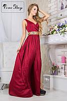 Вечернее платье с поясом из паеток