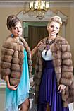 Шуба полушубок из куницы с круглым вырезом marten fur coat jacket, фото 8