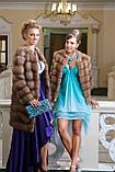 Шуба полушубок из куницы с круглым вырезом marten fur coat jacket, фото 9