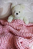 Плед ручной работы, вязанный из толстой пряжи, 100% шерсть. Цвет Светло-розовый