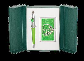 Набор подарочный Langres Crystal Heart: ручка шариковая + визитница, зеленый