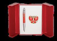 Набор подарочный Langres Papillon: ручка шариковая + крючок д/ сумки, красный