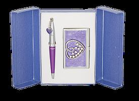 Набір подарунковий Crystal Heart: ручка кулькова + візитниця, фіолетовийLS.122008-07