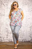 Майка футболка Индия бирюза цветы удлиненная сзади из штапеля большого размера 48-94 батал