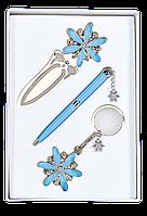 Набор подарочный Langres Star: ручка шариковая + брелок + закладка, синий
