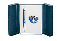 Набор подарочный Langres Papillon: ручка шариковая + крючок д/ сумки, синий