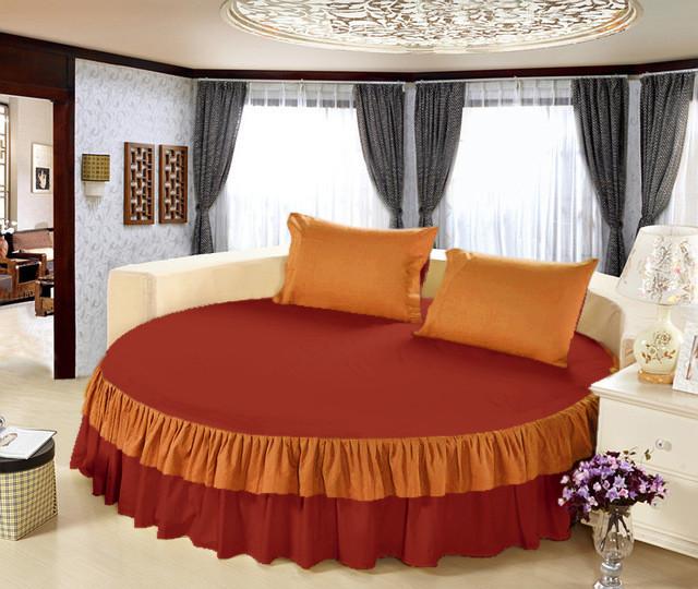 Простынь цельная - подзор на Круглую кровать Модель 6 Винный + Медовый