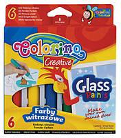 Витражные краски,  в упаковке, 2 пленки,  4 шаблона. 6 цветов32797PTR