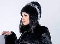 Женская шапка из песца и чернобурки