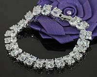 Красивый браслет с фианитами, покрытый платиной(713030)