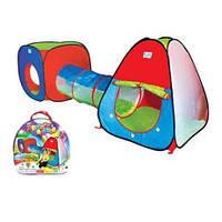 Детская игровая палатка с тоннелем М 2958 «3 в 1», 4 входа, вход на липучке, разноцветная