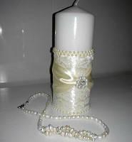 """Свадебная свеча ручной работы """"Бусинки"""" цвет айвори"""