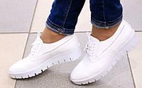 Туфли женские на шнурках, материал - кожа, цвет - белый