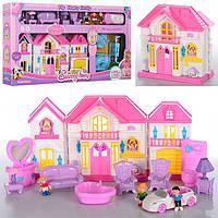 Кукольный домик маленький WD-922C-D, пластик, 2 вида, куколки в комплекте, мебель