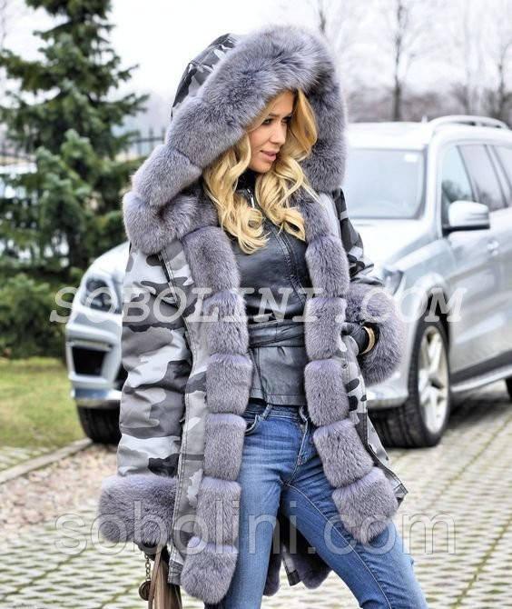 1be100a2f Парка хаки с мехом финского песца цвета grey. Зимняя теплая вещь