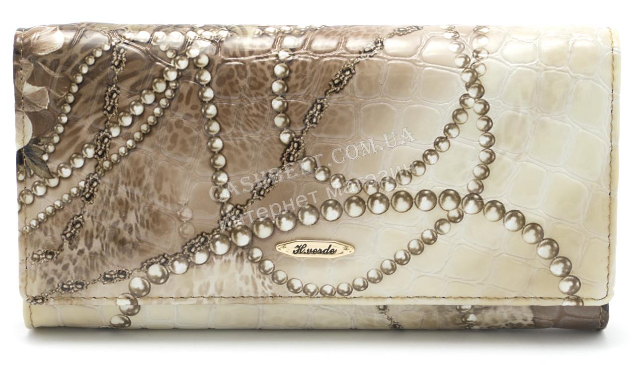 Классический кожаный женский кошелек рептилия H.VERDE art.2030-E02
