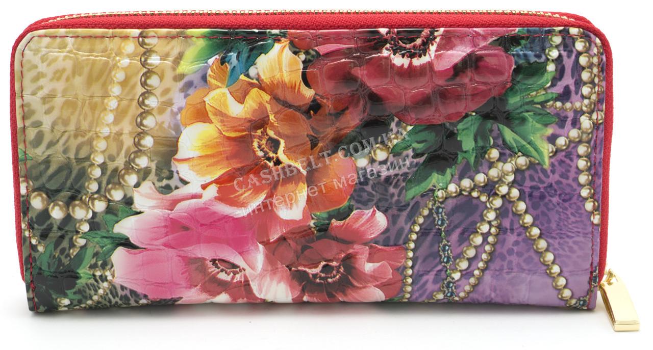 Модный кожаный лаковый женский кошелек с цветочным принтом H.VERDE art. 2480-E01