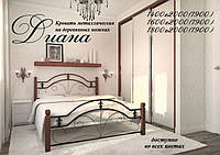 Кровать металлическая двуспальная Диана на деревянных ножках