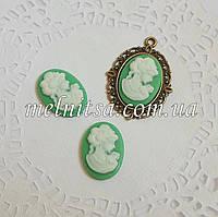 Камея, 18х13мм,  цвет зеленый