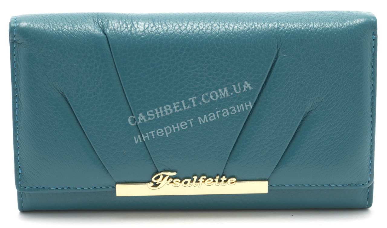 Модный матовый кожаный женский кошелек голубого цвета SALFEITE art. 12181