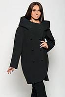 Кашемировое пальто с капюшоном и двойной застежкой