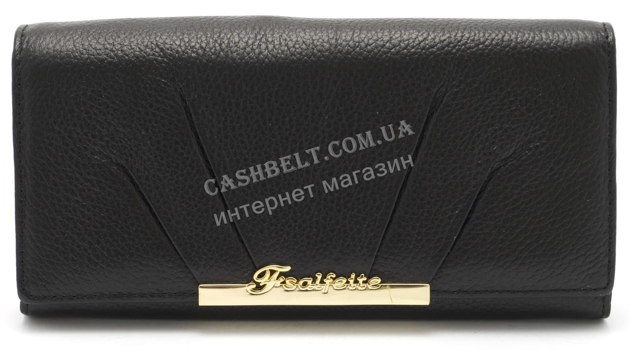 Модный матовый кожаный женский кошелек черного  цвета SALFEITE art. 12176