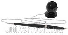 """Ручка с подставкой на металлической цепочке, """"DESK PEN"""", черный корпус, стержень синий. ECONOMIX"""