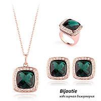 Комплект VERSACE GREEN ювелирная бижутерия золото 18К декор кристаллы Swarovski