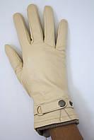 Женские кожаные бежевые перчатки