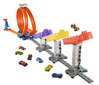 Трек Hot Wheels Рекордный Прыжок, Hot Wheels double loop attack track set minicar play kit