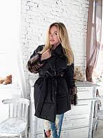 Модная куртка с меховыми рукавами большого размера мех енот