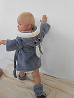 Детский халат Зайка с ушками серый