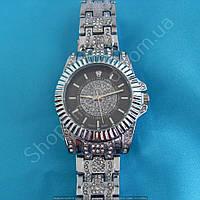 Часы Rolex B36 114282 женские серебристые с черным циферблатом стразы диаметр 33 мм на металлическом браслете