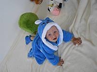 Детский халат Зайка с ушками синий