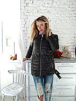 Женская стильная куртка с норковым воротником