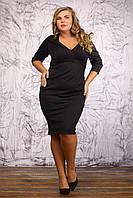 Классическое трикотажное платье футляр черного цвета, деловое, осеннее, большого размера 48-72, батал