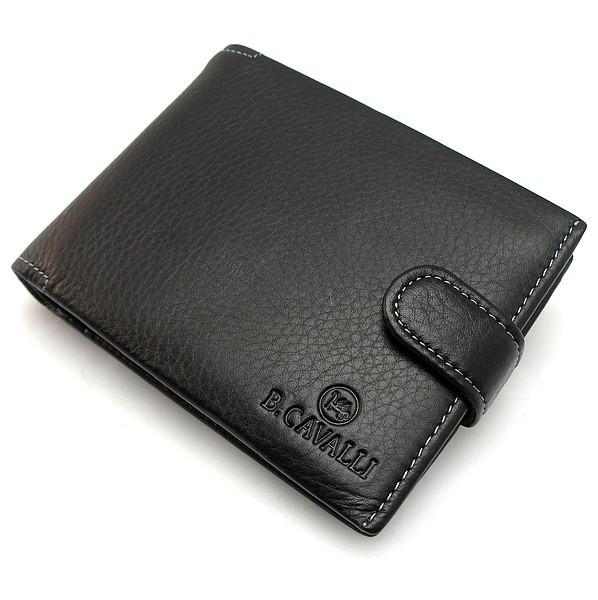 Кошелек мужской кожаный черный на кнопке B.Сavalli 461
