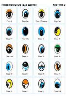 Фурнитура глаз овальный два цвета (черный плюс один другой цвет на белом фоне)