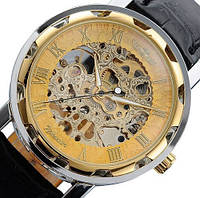 Мужские часы Winner Black черные скелетон Skeleton МЕХАНИКА Золотистый