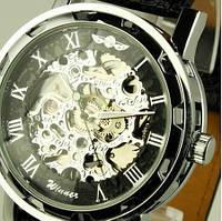 Мужские часы Winner Black черные скелетон Skeleton МЕХАНИКА Серебристый
