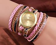 Шикарные часы-браслет.  Розовые. 8 цветов (Код 02)