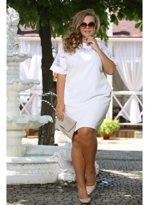Женское красивое платье Бруклин белое  до 72 размера / большие размеры