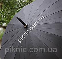 Зонт мужской семейный трость 16 спиц Антиветер диаметр купола 120 см Ручка прямая, фото 2
