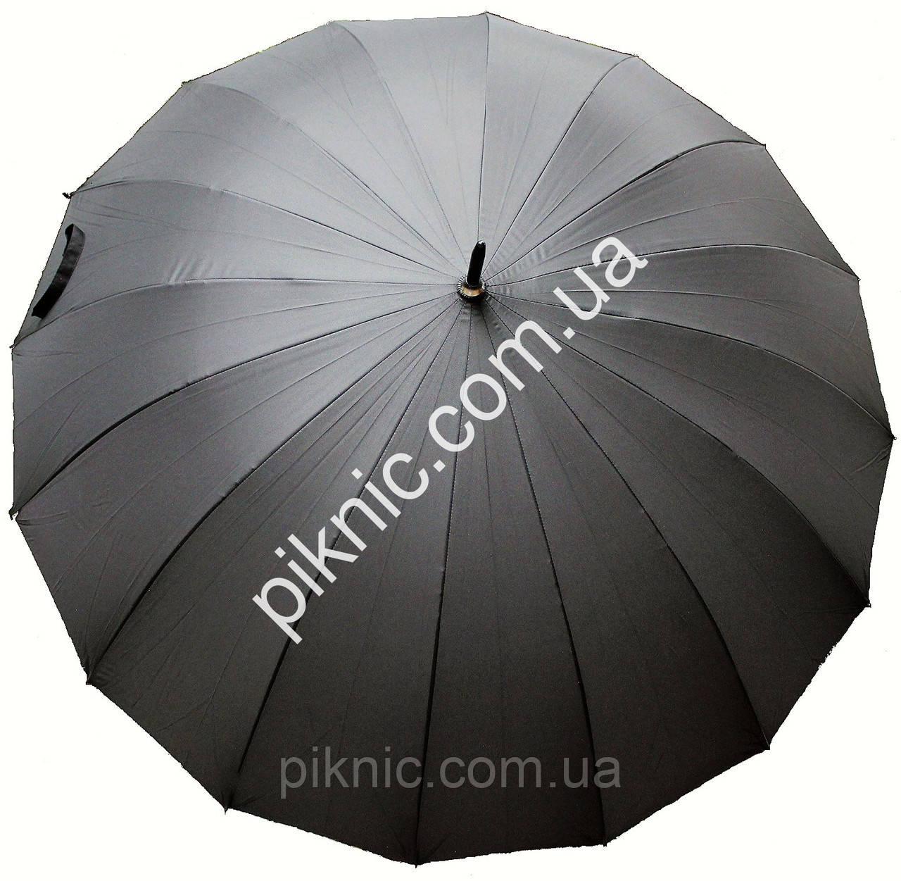 Зонт мужской семейный трость 16 спиц Антиветер диаметр купола 120 см Ручка прямая