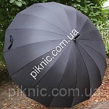 Большой семейный, мужской зонт трость. 16 спиц. Антиветер. Диаметр купола 120 см. Ручка крюк, фото 2