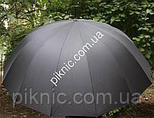 Зонт мужской семейный трость 16 спиц Антиветер диаметр купола 120 см Ручка прямая, фото 3