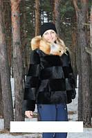 """Курточка из стриженной нутрии """"Приора""""с капюшоном,опушка лиса, длина 65 см"""