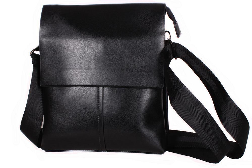 a61ef210abec Шикарная мужская сумка из гладкой кожи черная - АксМаркет в Киеве