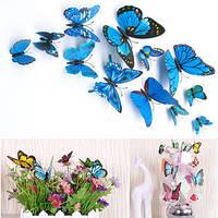 Декоративные 3D бабочки на магнитах,наклейки на стену Синий цвет 12 шт